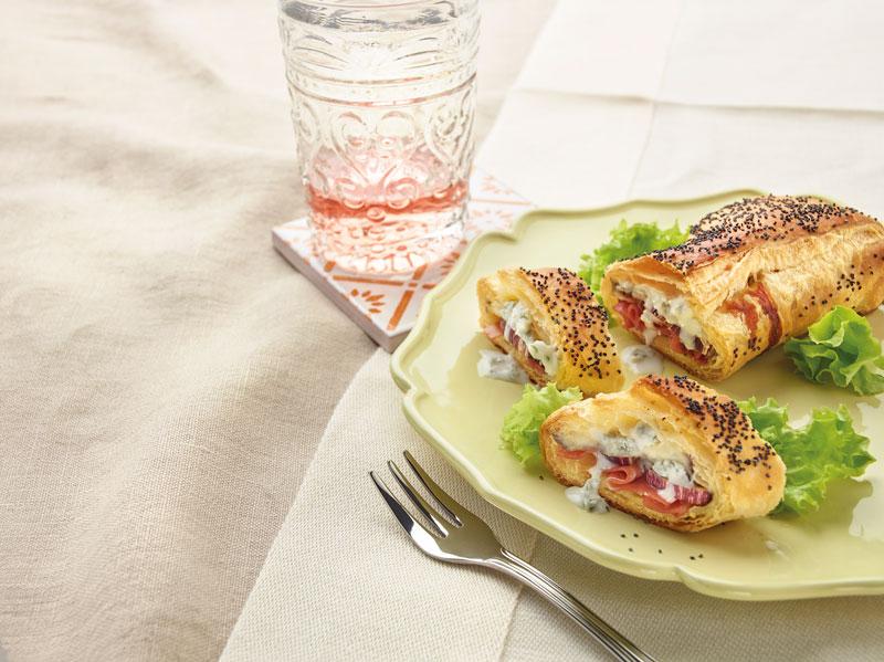 Strudel con melanzane, prosciutto e Gorgonzola